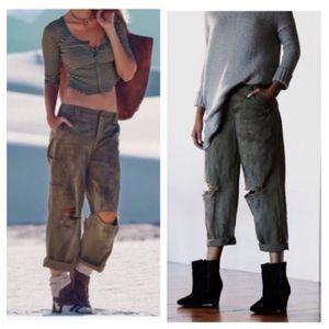Free people paint splattered Carpenter jeans